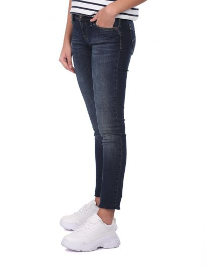 Blue White Low Waist Women Jean Trousers - Thumbnail