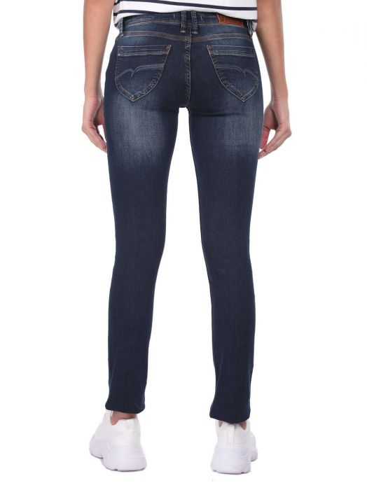 Blue White Low Waist Women Jean Trousers