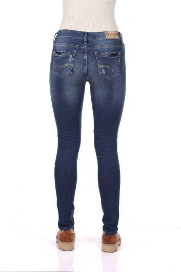 Blue White Stitch Detail Women's Jean Trousers - Thumbnail