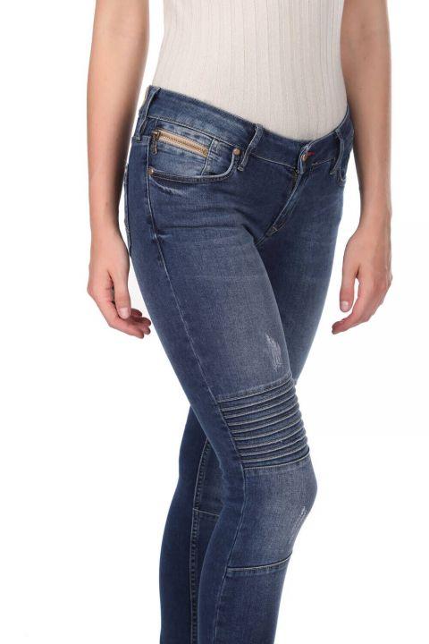 Blue White Stitch Detail Women's Jean Trousers