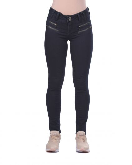 بنطلون جينز نسائي أزرق أبيض بسحاب مزدوج - Thumbnail