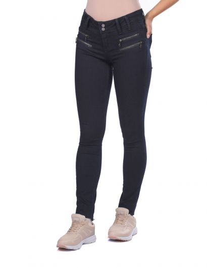 BLUE WHITE - Blue White Double Zipper Women Jean Trousers (1)