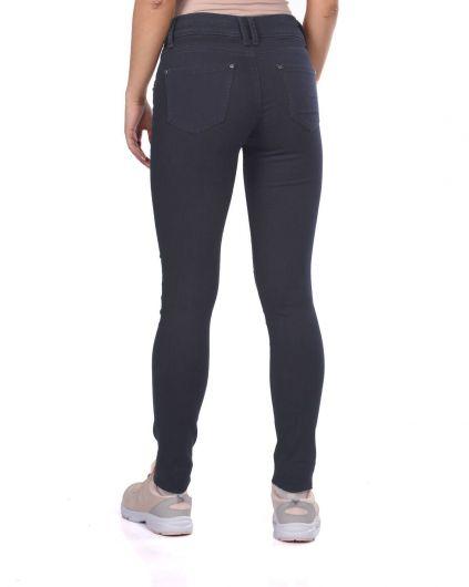 Blue White Double Zipper Women Jean Trousers - Thumbnail