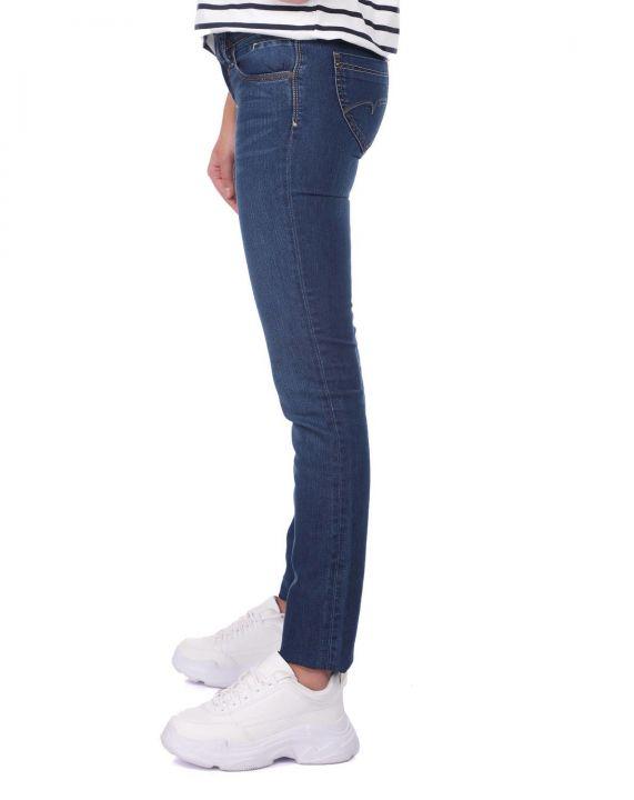 Синие белыеженские джинсовые брюки