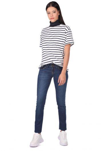 Синие белыеженские джинсовые брюки - Thumbnail