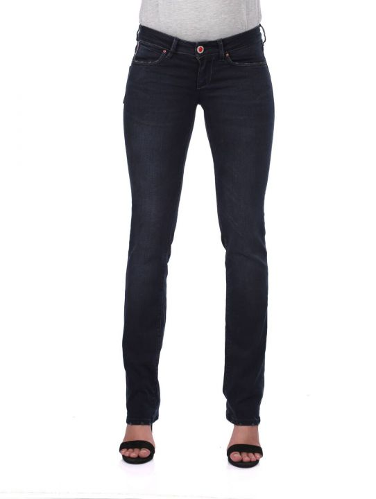 Blue White Women's Back Pocket Detailed Jean Trousers