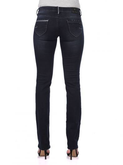 Blue White Women's Back Pocket Detailed Jean Trousers - Thumbnail