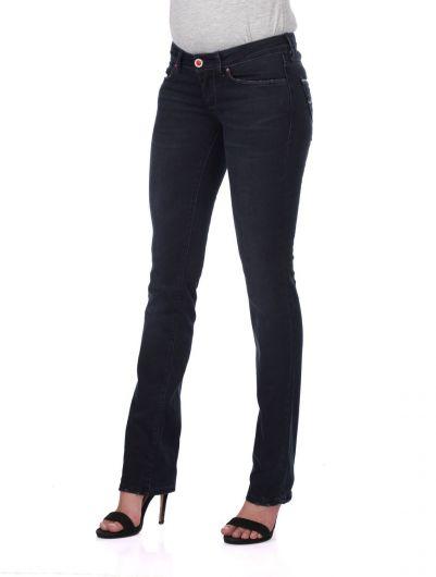 BLUE WHITE - Сине-белыеженские джинсовые брюки с детализированным карманом на спине (1)