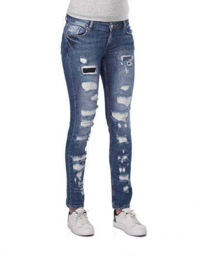 BLUE WHITE - Синие белые рваные женские джинсы стандартного кроя (1)