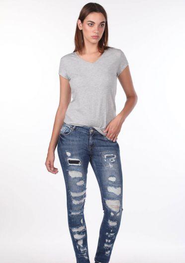 Синие белые рваные женские джинсы стандартного кроя - Thumbnail