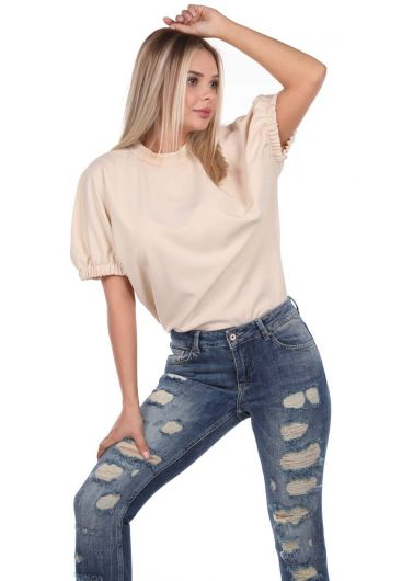 Blue White Ripped Detailed Women's Jean Trousers - Thumbnail