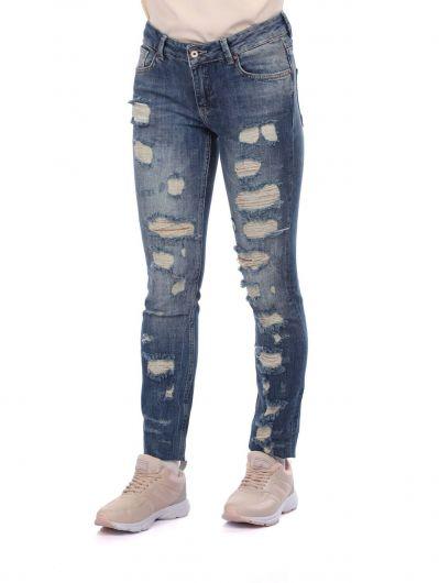 BLUE WHITE - Сине-белые рваные женские джинсовые брюки с детализированной отделкой (1)