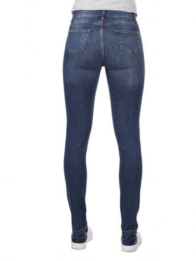 بنطلون جينز غامق نحيل أبيض أزرق للنساء - Thumbnail