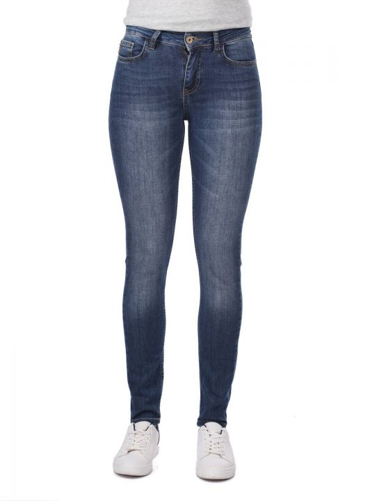 Blue White Women's Skinny Dark Jeans