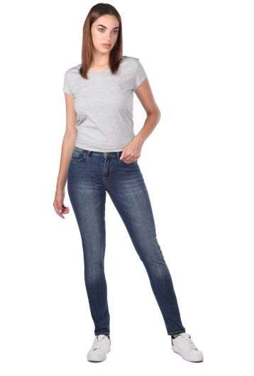 Blue White Women's Skinny Dark Jeans - Thumbnail
