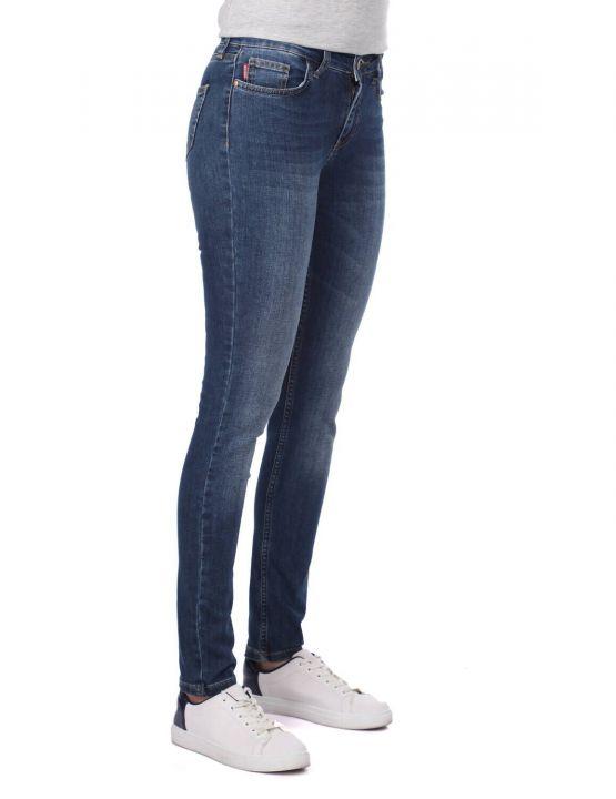 Темно-синие женские узкие брюки из темно-синего белого цвета