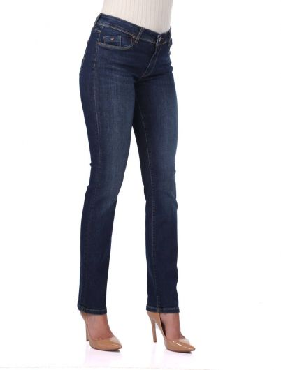 BLUE WHITE - Mid Waist Jeans For Women (1)
