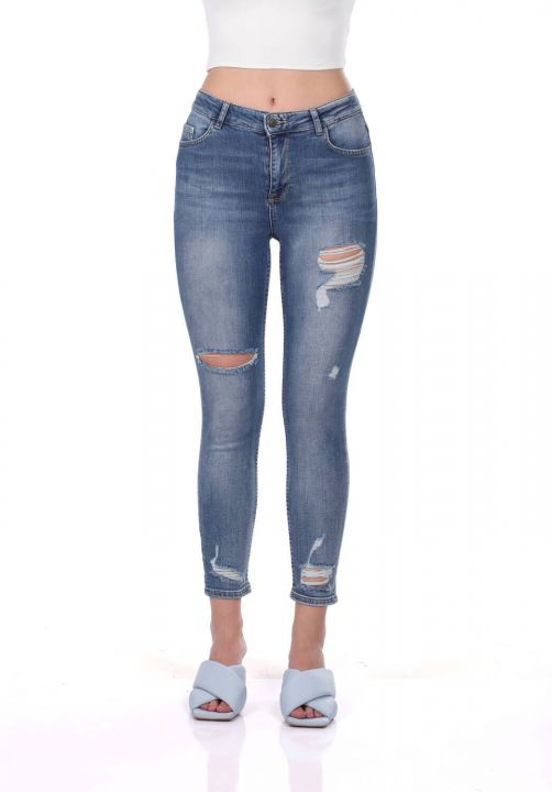 Blue White Women's Ripped Trousers