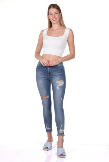 Blue White Women's Ripped Trousers - Thumbnail