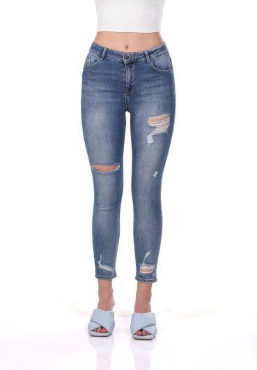 Сине-белые женские рваные брюки - Thumbnail