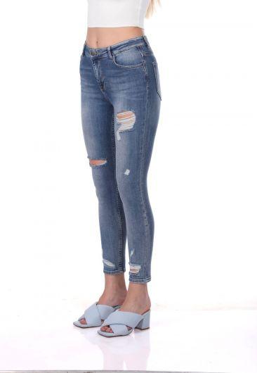 BLUE WHITE - Сине-белые женские рваные брюки (1)