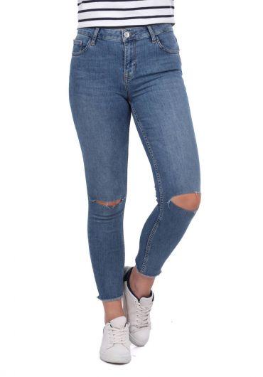Blue White Women's Series Ripped Jeans - Thumbnail