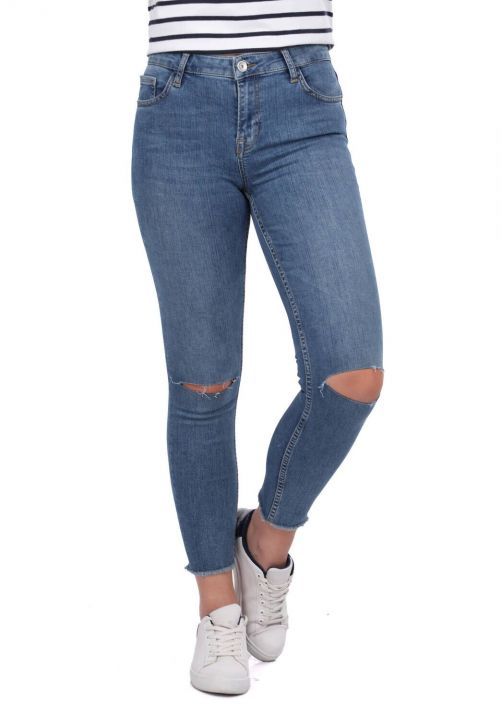 Blue White Women's Series Ripped Jeans