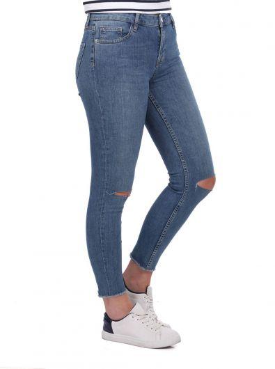 BLUE WHITE - Голубые белые рваные джинсы женской серии (1)