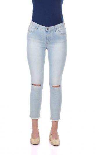 Blue White Women's Ripped Knee Jean Trousers - Thumbnail