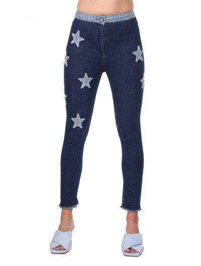 بنطلون جينزأزرق أبيضنسائي مفصل بالنجوم - Thumbnail