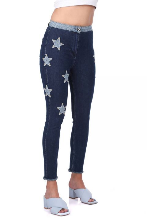 Blue White Women's Star Detailed Jean Trousers
