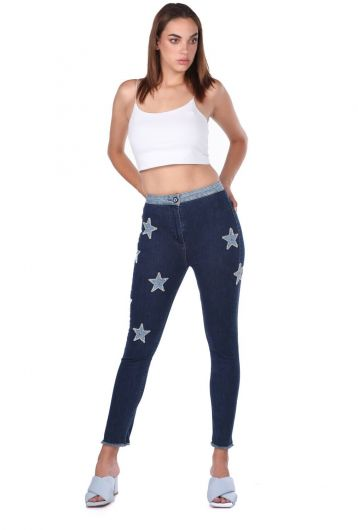 Blue White Women's Star Detailed Jean Trousers - Thumbnail