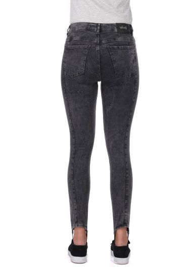 Leg Detailed Anthracite Women's Jean Trousers - Thumbnail