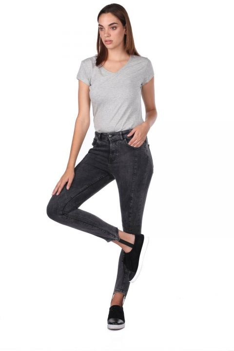 Leg Detailed Anthracite Women's Jean Trousers