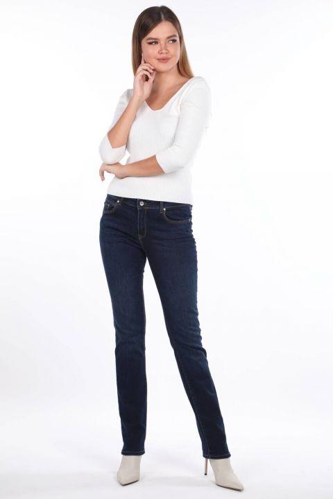 Blue White Regular Fit Jeans For Women