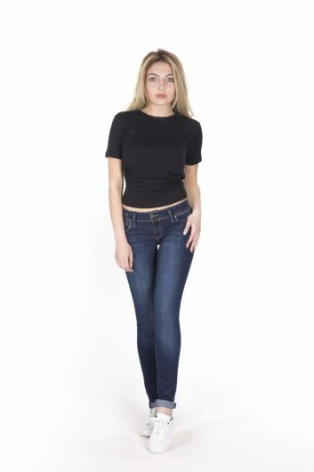 BLUE WHITE - Blue White Women's Low Rise Jeans (1)