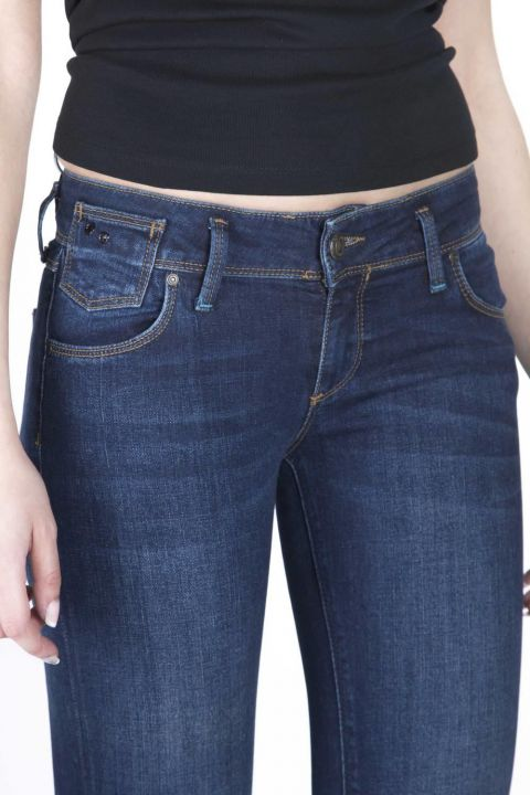 Blue White Women's Low Rise Jeans