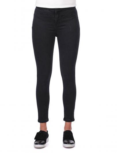 Blue White Women's Skinny Black Jeans - Thumbnail