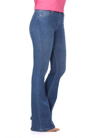 BLUE WHITE - Blue White Women's Wide Leg Jeans (1)