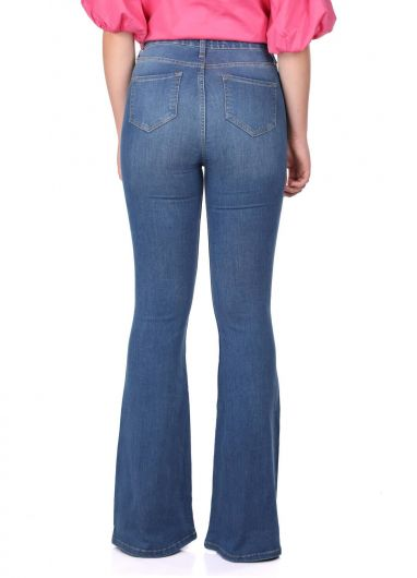 Blue White Women's Wide Leg Jeans - Thumbnail
