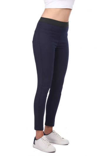 BLUE WHITE - Blue White Women Navy Blue Leggings Jean Trousers (1)