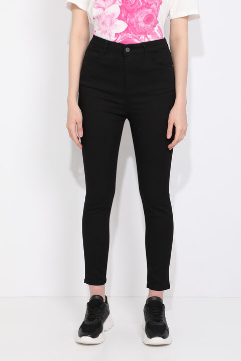 Blue White Women's High Waist Black Jean Trousers
