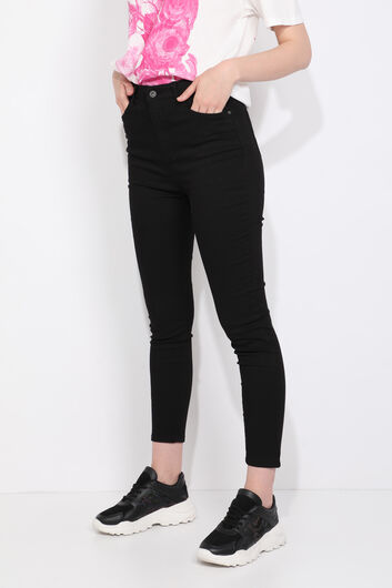 Blue White Women's High Waist Black Jean Trousers - Thumbnail