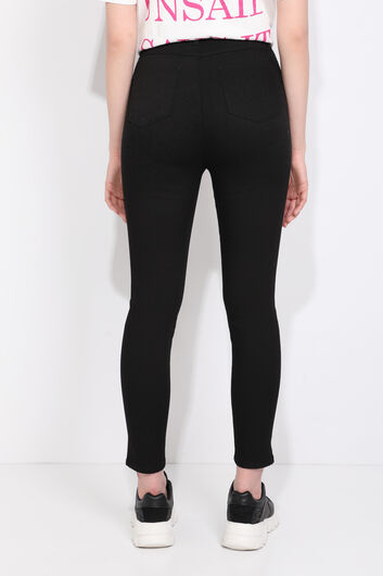 Blue White Women's High Waist Black Jean Trousers - Thumbnail