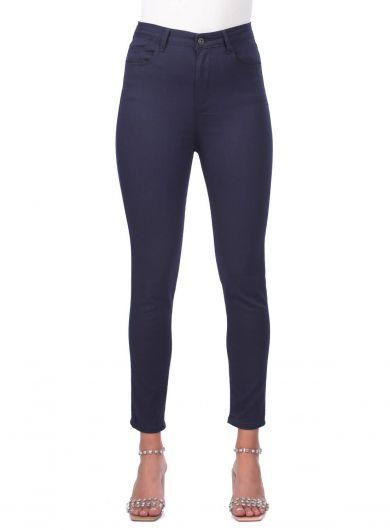 Blue White Women Navy Blue High Waist Jean Trousers - Thumbnail