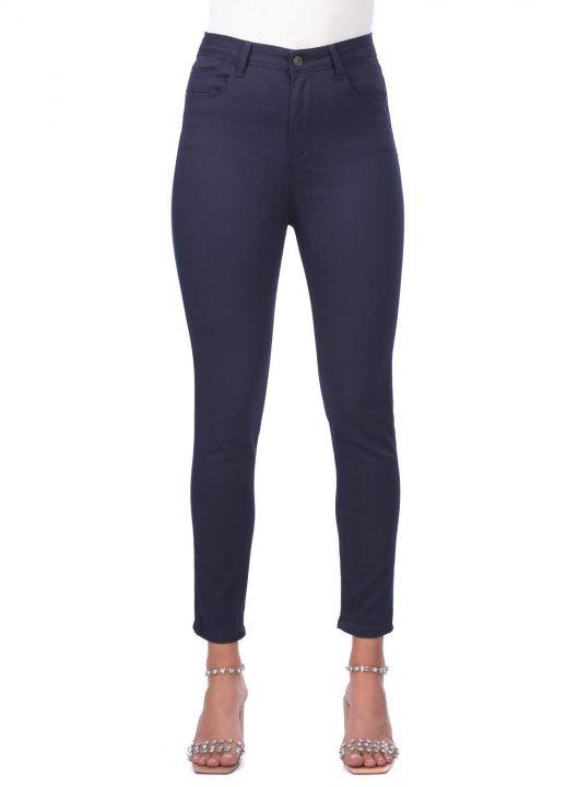 Blue White Women Navy Blue High Waist Jean Trousers