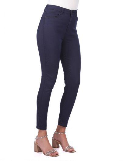 BLUE WHITE - Синие белые женские темно-синие джинсовые брюки с высокой талией (1)