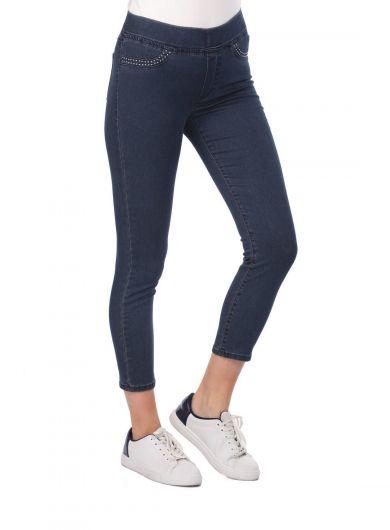 Blue White Women's Pocket Detailed Leggings Jean Trousers - Thumbnail