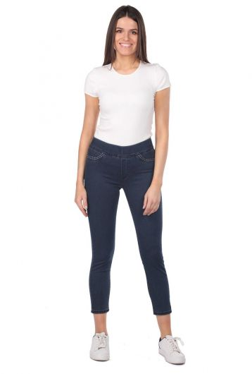 BLUE WHITE - Blue White Women's Pocket Detailed Leggings Jean Trousers (1)