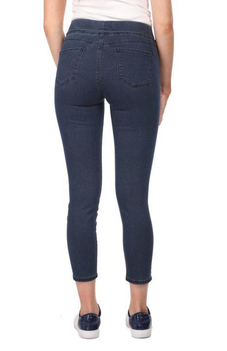 Blue White Women's Pocket Detailed Leggings Jean Trousers